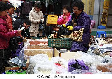 伝統的である, 韓国, 市場, 南