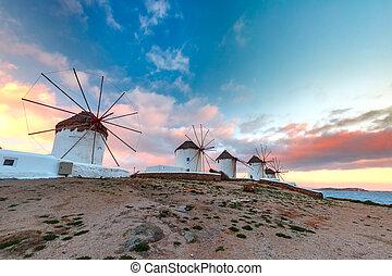 伝統的である, 風車, ギリシャ, mykonos, 日の出