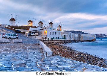 伝統的である, 風車, mykonos, 日の出, ギリシャ