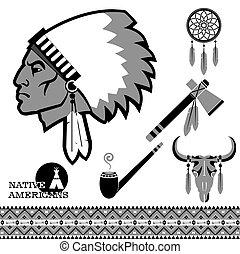伝統的である, 黒, objects., アメリカ人, イラスト, 北, 人, indian, 肖像画, ベクトル
