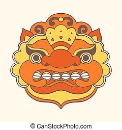 伝統的である, balinese, mask., barong.