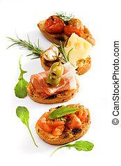 伝統的である, bruschette, イタリア語, 前菜