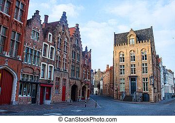 伝統的である, burges, れんが, ベルギー, 家