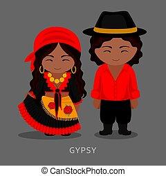 伝統的である, costume., romany., ジプシー