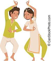 伝統的である, culture., パーティー, indian, bollywood, ダンサー