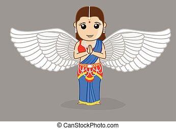 伝統的である, indian, 天使の祈ること