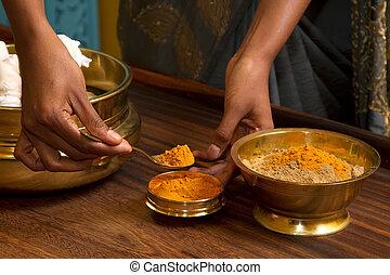 伝統的である, indian, ayurvedic, マッサージ