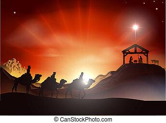 伝統的である, nativity, scen, クリスマス