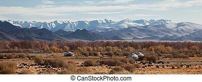 伝統的である, nomadic, 住居, mongolian