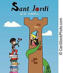 伝統的である, sant, jordi., celebration., カタロニア
