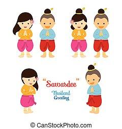 伝統的である, sawasdee, タイ人, 子供, 衣類