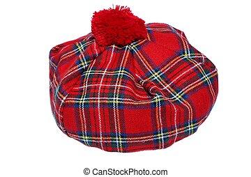 伝統的である, tartan, bonnet., 赤, スコットランド