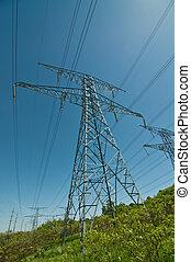 伝達は そびえている, (electricity, 電気である, pylons)