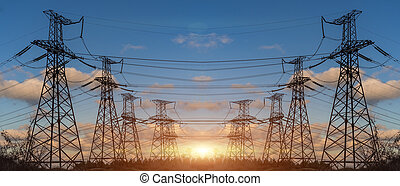 伝達, 電気エネルギー, タワー, pylon., 電圧, 高く