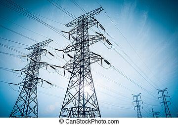 伝達, silhouetted, パイロン, 高圧, 電気