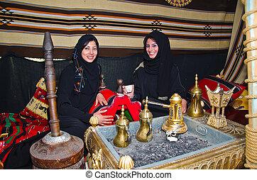 传统, arab, 妇女, 帐篷, 坐