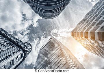 伦敦, 察看, 角度, 摩天楼, 低