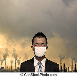 伪装, bussinessman, 悲哀, 污染, 空气, 概念