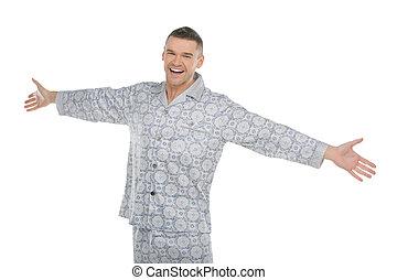 伸ばしている, 手, 隔離された, 若い, pajamas., 白, 幸せ, パジャマ, 人
