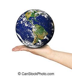 伸ばしている, 腕, 保有物, 地球, isolated., 地球, イメージ, 供給された, によって, nasa