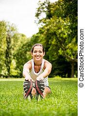 伸展練習, -, 運動婦女, 戶外