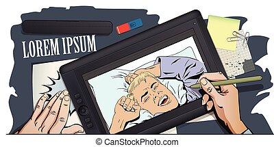 伸張, ペンキ, 後で, 手, picture., nap., 人