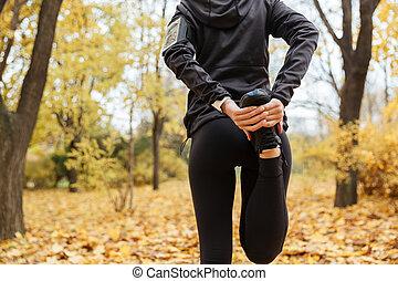 伸張, 背中, 若い, フィットネス, 肖像画, 女の子, 足, 光景