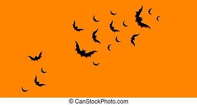 位置, 上, 幸せ, space., 勾配, 黒, コピー, 光景, ハロウィーン, 平ら, 背景, コウモリ