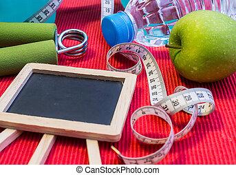 位置, 套間, -, dumbbell, 測量磁帶, 手把手, 礦泉水, 新鮮, 蘋果, &, 空白, 黑板, 為,...