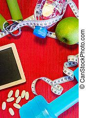 位置, 套間, -, dumbbell, 測量磁帶, 手把手, 礦泉水, 新鮮, 蘋果, 維生素, 藥丸, &, 空白,...