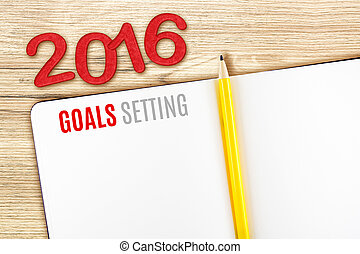 位置, mock, テンプレート, の上, あなたの, 木, 設定, ゴール, ゴール, 付け加える, 2016, テーブル, ノート, 単語