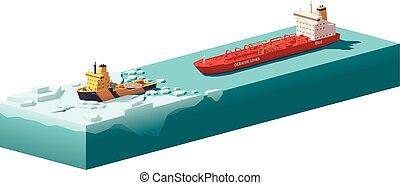 低い, 壊れる, poly, ベクトル, icebreaker, 氷