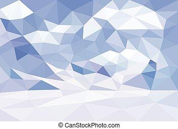 低い, poly, polygonal, 風景, 冬, バックグラウンド。, vector.