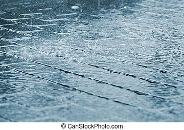 低下, の, 豪雨, 上に, 歩道, 表面