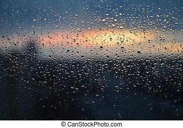 低下, の, 雨, 上に, ガラス, 背景