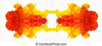 低下, 小滴, 小滴, 抽象的, 流れること, patterns., 隔離された, 水彩画, 水, バックグラウンド。, 明るい, mascara, 水, インク, red-yellow, 曲がった, 白, 反映された, 図画, 動き