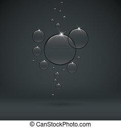 低下, 暗い, 黒い背景, 泡, 透明