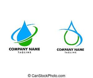 低下, 水, セット, ロゴ, デザイン, swoosh, 概念