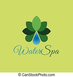 低下, 水, ベクトル, テンプレート, エステ, ロゴ, design.