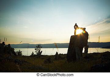 低下, 石, 湖, に対して, baikal, 風景