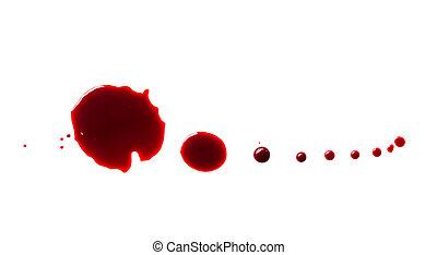 低下, 隔離された, の上, 血, 背景, 終わり, 白