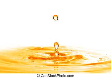 低下, 隔離された, 水, はね返し, オレンジ, 落ちる, 白