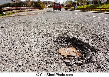 住宅の, ポット, 道, 穴, 表面