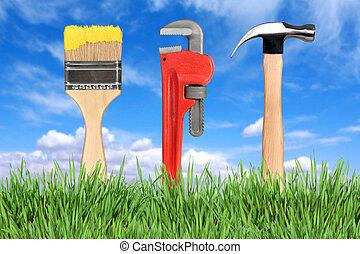 住宅改善, 道具, ペイントブラシ, パイプレンチ, そして, ハンマー