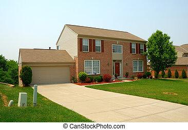 住宅, 两个故事, 砖, 家