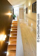 住宅, 階段, 贅沢, 照らされた