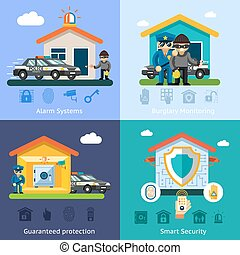 住家安全, 系統, 套間, 矢量, 背景, 概念