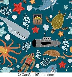 住民, octopus., 珊瑚, starfish., 胸, pattern., shark., seamless, ダイバー, バックグラウンド。, ベクトル, 怒る, 海洋, keith, kraken, 水生, 宝物, ocean., turtle., submarine.