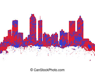 佐治亞, 藝術, 美國, 水彩, 地平線, 印刷品, 亞特蘭大