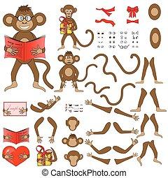 体の部位, の, 猿, 中に, ベクトル, eps, 10